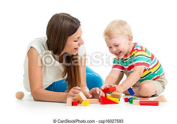 男孩, 玩具, 一起, 母親, 玩, 孩子 - csp16027593
