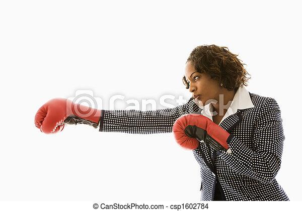 Competitive businesswoman. - csp1602784