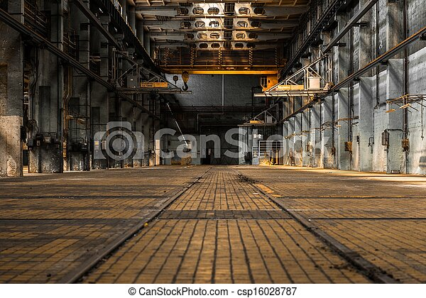 Industrial interior of an old factory - csp16028787