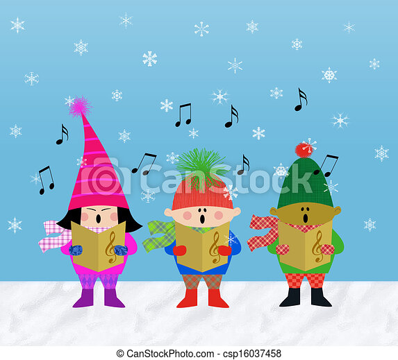 Carolers - stock illustration, royalty free illustrations, stock clip ...