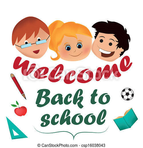 EPS Vector of welcome back to school - three faces of some ...
