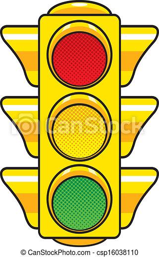 Vector Clip Art of Traffic Light - Vector illustration of a ...