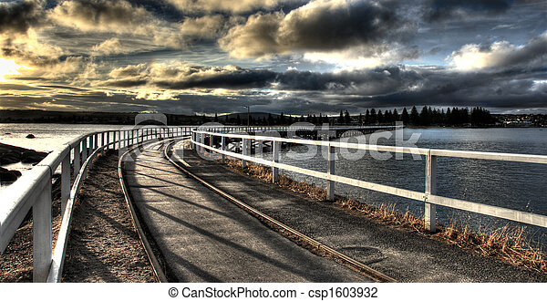 Train Track Accross Water - csp1603932