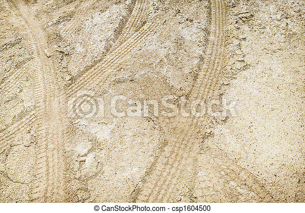 Tire tracks in dirt. - csp1604500