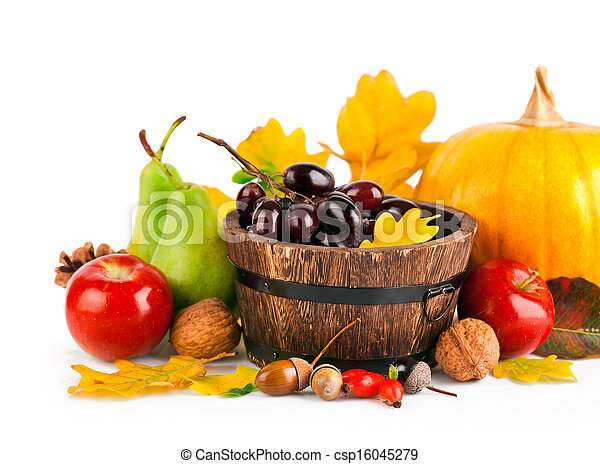 autumnal harvest fruits and vegetables with yellow leaves - csp16045279