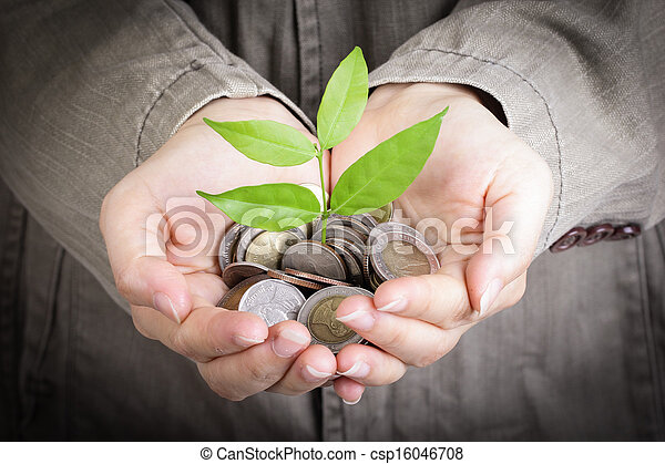 Businessman cover growing plant
