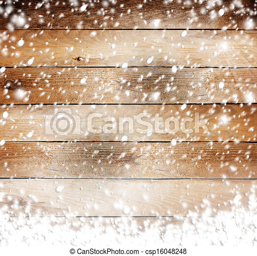 Old wooden background with snow for design - csp16048248