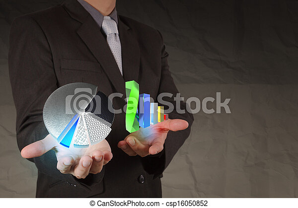 businessman hand show business charts with crumpled paper background as concept - csp16050852