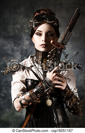 image de gothique portrait beau steampunk femme. Black Bedroom Furniture Sets. Home Design Ideas