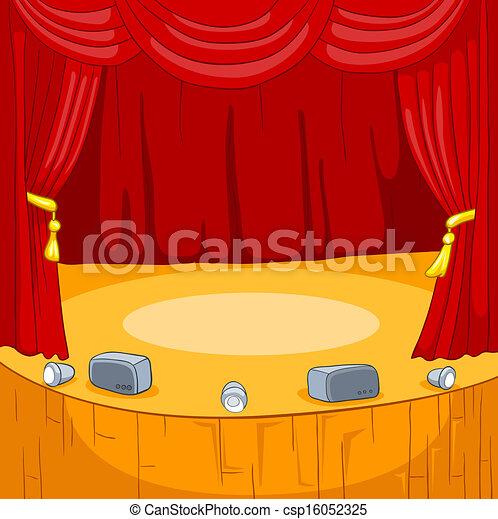 Ilustraciones de vectores de teatro caricatura etapa - Dessin de theatre ...