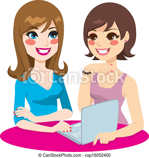 vektor clipart von frauen networking sozial zwei frauen friends brausen csp16052400. Black Bedroom Furniture Sets. Home Design Ideas