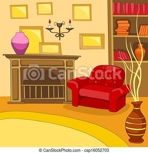 Vector clip art de habitaci n caricatura habitaci n for Sala de estar animada
