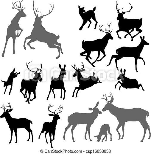 Deer animal silhouettes - csp16053053