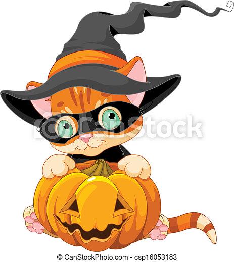 Cute Halloween Kitten  - csp16053183