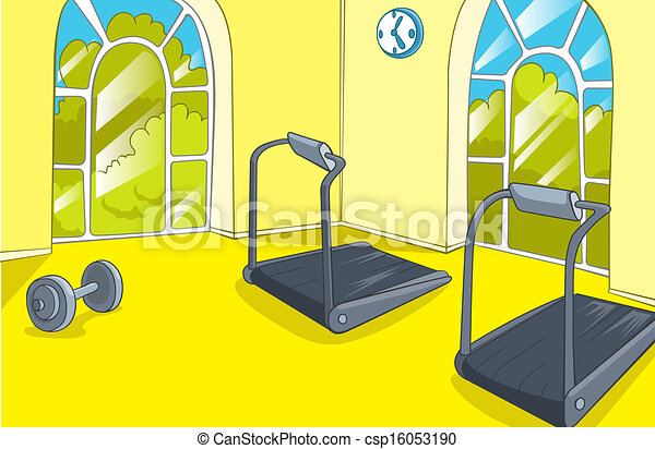 eps vectors of gym room with trainers vector cartoon