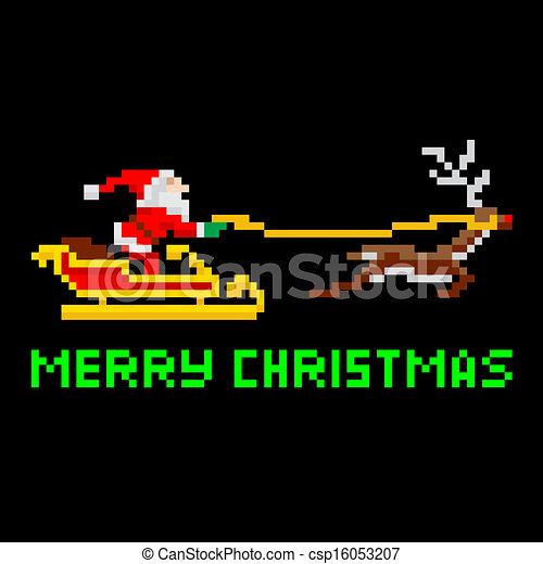 Retro pixel art Christmas Santa - csp16053207