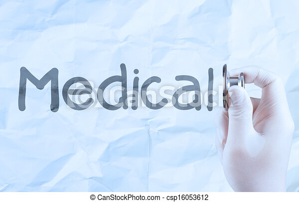 hand hold  stethoscope showing medical concept on crumpled paper background - csp16053612
