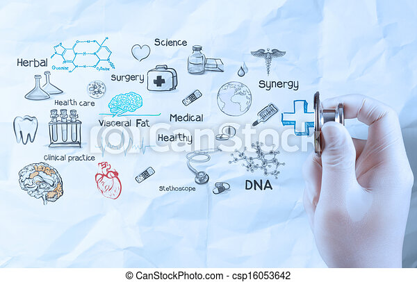 hand hold  stethoscope showing medical concept on crumpled paper background - csp16053642