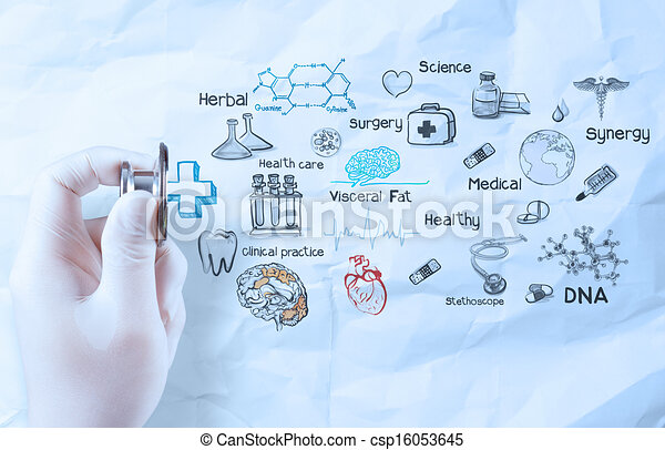 hand hold  stethoscope showing medical concept on crumpled paper background - csp16053645