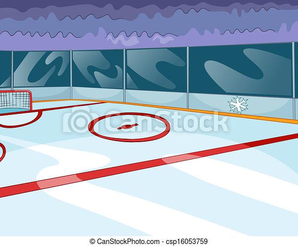 Vecteur clipart de hockey patinoire vecteur dessin anim fond eps 10 csp16053759 - Dessin patinoire ...