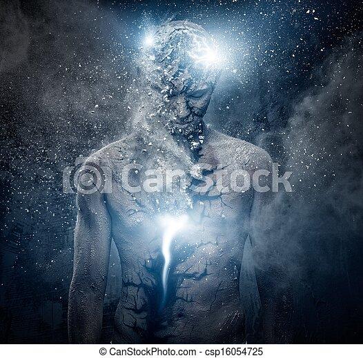 Man with conceptual spiritual body art - csp16054725