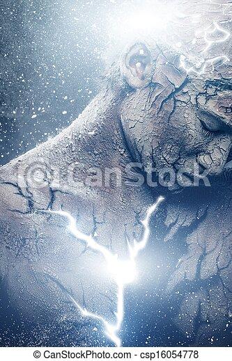 Man with conceptual spiritual body art - csp16054778