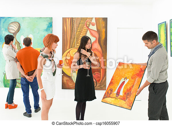 art collectors at exhibition opening - csp16055907