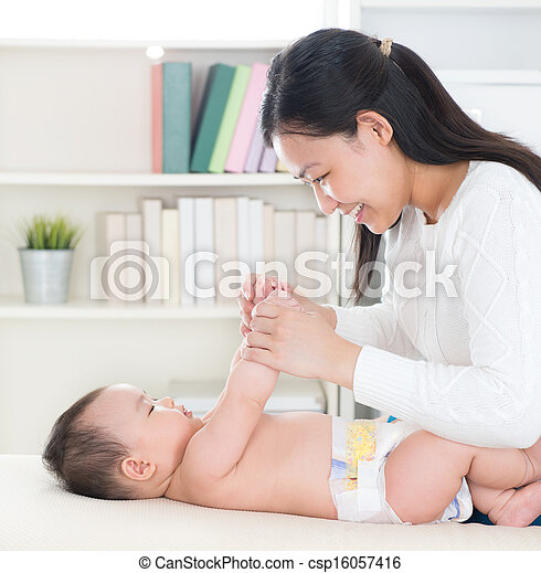 Mother playing with baby  - csp16057416