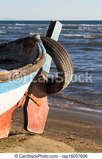 Wavy Sea and Rowboat - csp16057606