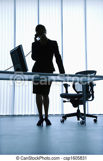 Stock Photography of Administrative assistant. - Silhouette of ...