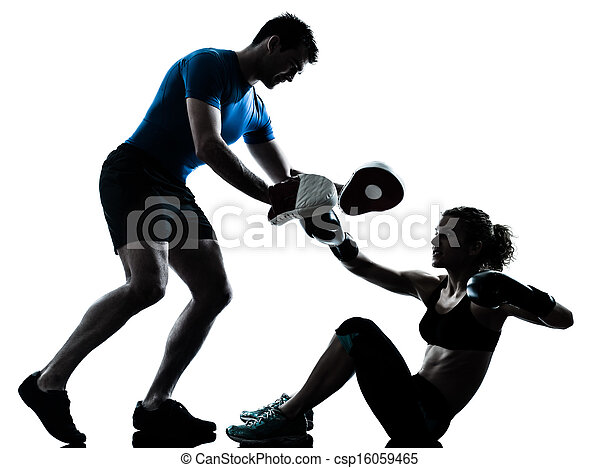 man woman boxing training - csp16059465