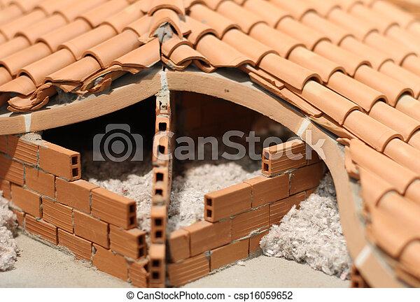 stock foto dachgeschoss isolierung isolieren material haus gemacht terracotta. Black Bedroom Furniture Sets. Home Design Ideas