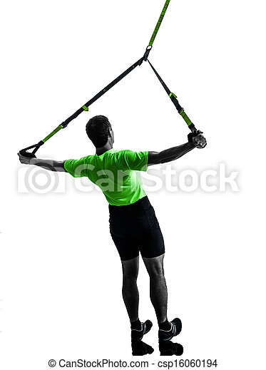 man exercising suspension training  trx silhouette - csp16060194