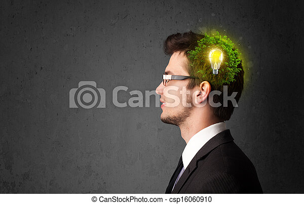 Young mind thinking of green eco energy with lightbulb - csp16060910