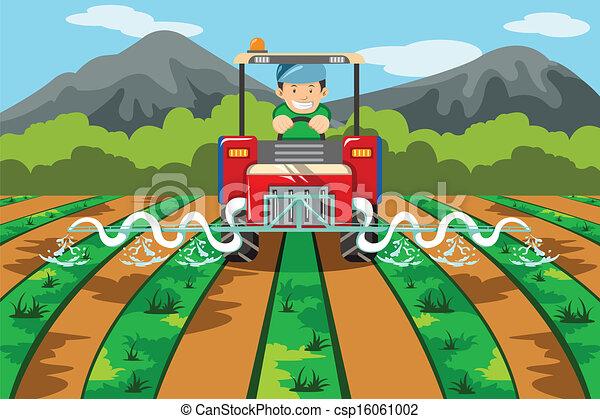 Clipart Vecteur de ferme, Arrosage, tracteur, paysan - a ...