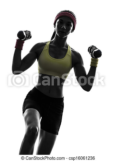 woman exercising fitness workout  weight training silhouette - csp16061236