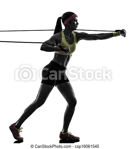 woman exercising fitness workout resistance bands silhouette - csp16061545
