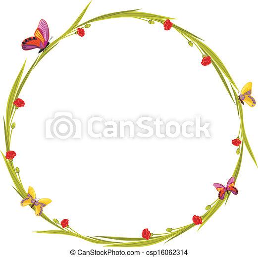 vecteur papillons couronne fleurs