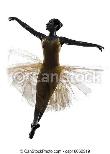 woman  ballerina ballet dancer dancing silhouette - csp16062319