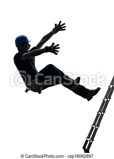 manual worker man falling from  ladder  silhouette - csp16062897