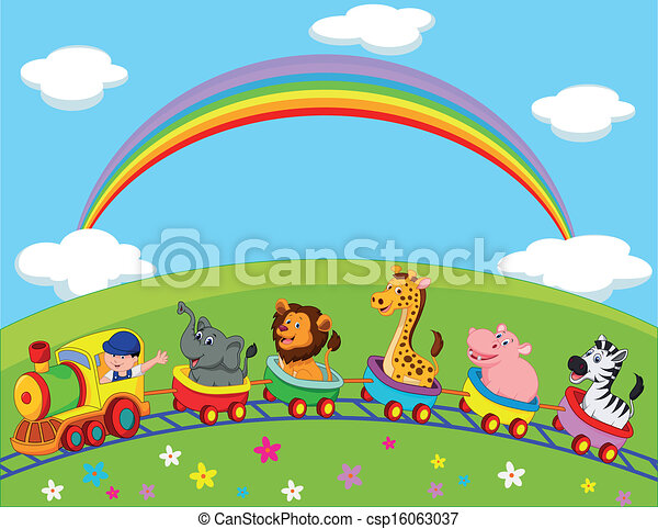 Animal Train Cartoon - Royalty Free Vector EPS - csp16063037