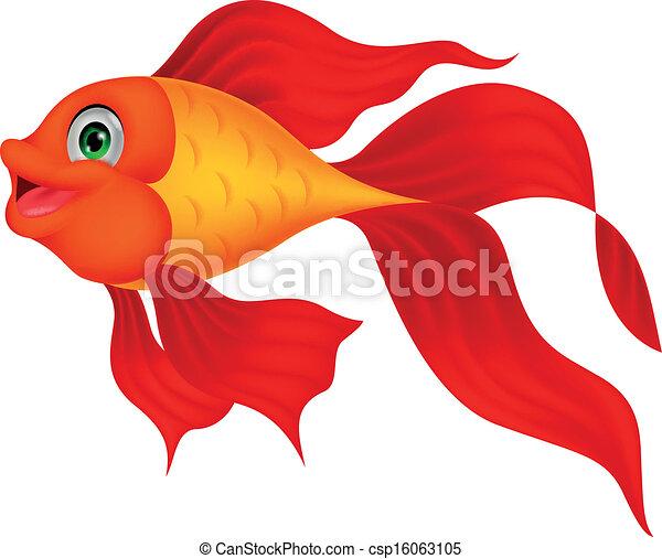 Vector Clip Art de lindo, dorado, pez, caricatura - vector ...