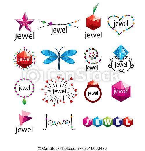 Colección, de, vector, Logotipos, Joyas, y, Moda, accesorios