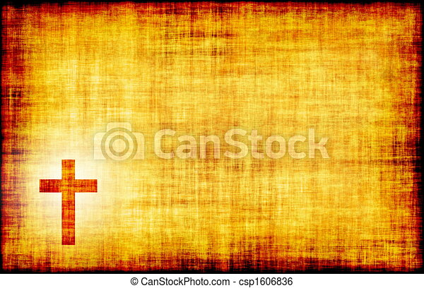 Holy Cross Engraved on a Parchment - csp1606836