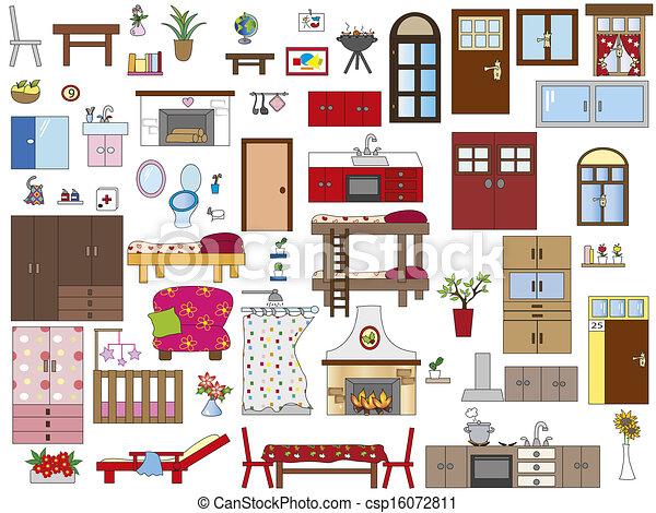 Clipart de int rieur maison illustration de int rieur csp16072811 recherchez des clip - Interieur d une maison ...