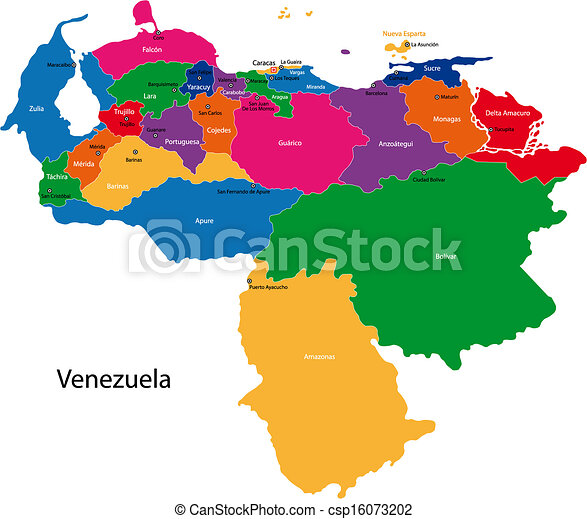 Vector Clip Art de venezuela, mapa - mapa, Bolivarian, república ...