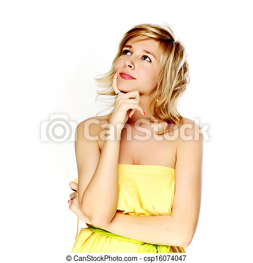 Beautiful young woman thinking - csp16074047