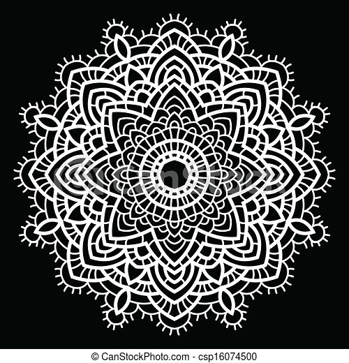 Vector - Crochet lace mandala. - stock illustration, royalty free ...