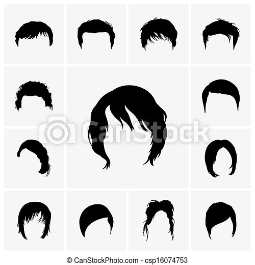Clipart Vector Of Hair Styles Set Of Hair Style Icons