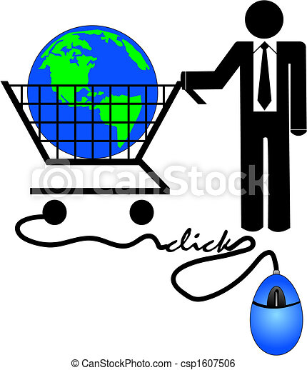 Clip Art Vector of global ecommerce - business man with ...